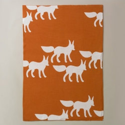 Graphic Knit Blanket, Fox - This bright orange throw is a fun and whimsical way to add a bit of color to the room.