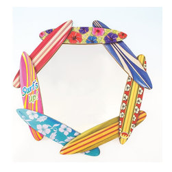 Round Wood Surfboard Mirror, Surf's Up - A ring of surfboards makes a totally tubular frame for a mirror.