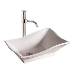 "Whitehaus - Whitehaus Whkn1078 20"" Isabella Basin - Isabella rectangular above mount basin with offset center drain"