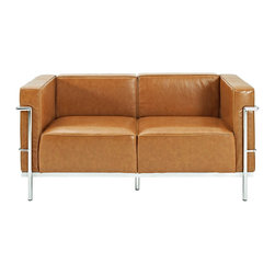 Modway Furniture - Modway Charles Grande Leather Loveseat in Tan - Grande Leather Loveseat in Tan belongs to Charles Collection by Modway Urban life has always a quandary for designers. While the torrent of external stimuli surrounds, the designer is vested with the task of introducing calm to the scene. From out of the surging wave of progress, the most talented can fashion a forcefield of tranquility. Perhaps the most telling aspect of the Charles series is how it painted the future world of progress. The coming technological era, like the externalized tubular steel frame, was intended to support and assist human endeavor. While the aesthetic rationalism of the padded leather seats foretold a period that would try to make sense of this growth. The result is an iconic sofa series that became the first to develop a new plan for modern living. If previous generations were interested in leaving the countryside for the cities, today it is very much the opposite. If given the choice, the younger generations would rather live freely while firmly seated in the clamorous heart of urbanism. The Charles series is the preferred choice for reception areas, living rooms, hotels, resorts, restaurants and other lounge spaces. Set Includes: One - Le Corbusier LC3 Loveseat Loveseat (1)