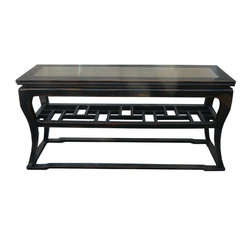 Golden Lotus - Black Lacquer Stone Top Console Side Table - This is a clean rustic black lacquer side table with grayish stone top. With a middle panel between legs , it creates more display and storage place.