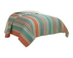 Retro Chic - Amagansett Retro Stripe King Quilt - Use this brightly colored casual stripe quilt for your master bedroom, guest bedroom or summer cottage.