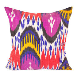 Hand Woven Ikat Pillow Cover - A518 - Ikat pillow cover constructed from hand woven Ikat fabric from Uzbekistan.