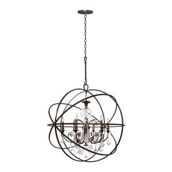 Crystorama - Crystorama CTR-9219-EB-CL Solaris Chandelier - We've made some changes to the Solaris Collection. You've seen crystal chandeliers before. They're very glamorous and old Hollywood. The most dramatic influence is our use of crystal elements inside the perfect sphere. We have married the contemporary sphere with the cut crystal chandelier and together they make the most beautiful jewelry for a room.