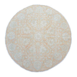 Stone Wash Oriental Rug Hand Knotted 6x6 Round 100% Wool Sultanabad Rug SH15394 - Hand Knotted Oushak & Peshawar Rugs are highly demanded by interior designers.  They are known for their soft & subtle appearance.  They are composed of 100% hand spun wool as well as natural & vegetable dyes. The whole color concept of these rugs is earth tones.
