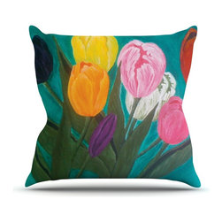 """Kess InHouse - Christen Treat """"Tulips"""" Rainbow Flower Throw Pillow (Outdoor, 20"""" x 20"""") - Decorate your backyard, patio or even take it on a picnic with the Kess Inhouse outdoor throw pillow! Complete your backyard by adding unique artwork, patterns, illustrations and colors! Be the envy of your neighbors and friends with this long lasting outdoor artistic and innovative pillow. These pillows are printed on both sides for added pizzazz!"""