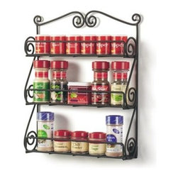 """Spectrum Diversified Design - 3-Tier Scroll Wall Mount Spice Rack - Black - Store all of your spices in one place with the 3-Tier Scroll Wall Mount Spice Rack. Made of sturdy steel the beautiful scroll design will add a traditional touch to your home. Available in Matte Black and Satin Nickel.Includes mounting hardware. Does not include spice bottles.12 1/4""""w x 2 3/4""""d x 15 1/4""""h"""