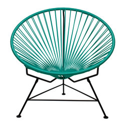Sunburst Hoop Modern Lounge Chair in Turquoise - Sit back and melt into this hoop-shaped, sunburst-woven modern lounge chair, complete with UV-resistant vinyl cord for breathability and support and a rust-resistant galvanized steel frame with a semi-textured polyester powder coat. The chair comes with a tripod base, and it's weatherproof and easy to clean. Use this chair inside or outside���it will be sure to add a burst of color and circular motion wherever it goes.
