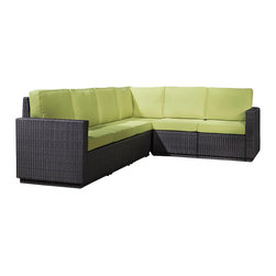 Home Styles - Home Styles Riviera Six Seat L Shape Sectional in Green Apple - Home Styles - Outdoor Sofas - 580360 - Riviera Six Seat L-Shape Sectional Sofa Green Apple Colored Fabric-Finally!!  An economical solution for upscale outdoor furniture��_.ready-to-assemble synthetic resin wicker. Body construction consists of Cycroplene a synthetic resin wicker in a deep brown color with a gold streak design woven over rust-resistant powder-coated aluminum frames.  Cycroplene is a 100% recyclable moisture and weather resistant low maintenance material.  All pieces feature shaped legs with adjustable levelers to accommodate uneven surfaces.  All seating pieces bolt together for additional support and sturdiness. Cushions fabric is stain resistant fade resistant water repellent and requires very little maintenance.