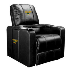 Dreamseat Inc. - Dallas Stars NHL Home Theater Plus Leather Recliner - Check out this Awesome Leather Recliner. Quite simply, it's one of the coolest things we've ever seen. This is unbelievably comfortable - once you're in it, you won't want to get up. Features a zip-in-zip-out logo panel embroidered with 70,000 stitches. Converts from a solid color to custom-logo furniture in seconds - perfect for a shared or multi-purpose room. Root for several teams? Simply swap the panels out when the seasons change. This is a true statement piece that is perfect for your Man Cave, Game Room, basement or garage. It combines contemporary design with the ultimate comfort from a fully reclining frame with lumbar and full leg support.