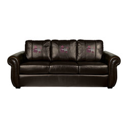 Dreamseat Inc. - Worlds Greatest Mom Chesapeake BLACK Leather Sofa - Check out this awesome Sofa. It's the ultimate in traditional styled home leather furniture, and it's one of the coolest things we've ever seen. This is unbelievably comfortable - once you're in it, you won't want to get up. Features a zip-in-zip-out logo panel embroidered with 70,000 stitches. Converts from a solid color to custom-logo furniture in seconds - perfect for a shared or multi-purpose room. Root for several teams? Simply swap the panels out when the seasons change. This is a true statement piece that is perfect for your Man Cave, Game Room, basement or garage.