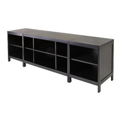 Winsome Wood - Hailey Modular Media Center, Set of 3 - Our Hailey Modular Media Center which holds 3 piece modular TV stand and media set that are made of solid and composite wood in dark espresso finish.