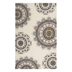 Surya Rugs - Flor Rectangular: 5 Ft. x 8 Ft. Rug - -Flor Rectangular: 5 Ft. x 8 Ft. Rug  -Pantone Colors: Antique White, Sand Dollar, Olive Gray, Stormy Sea  -Looped Texture Surya Rugs - FLO9003-58