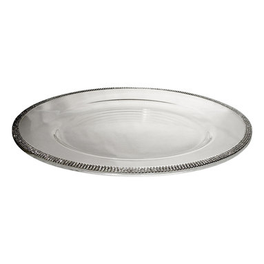 "Alan Lee Collection - Princess Collection 14"" Glass Charger - 14"" Glass Charger with hand applied cut crystals around the outside edge. A beautiful way to make any table setting look Spectacular."