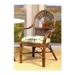 Boca Rattan - Tradewinds Rattan Dining Arm Chair in Urban M - Fabric: 641Graceful curved arms and a fan style rattan back give this stylish arm chair a graceful appeal that will add warmth and relaxed charm to your home's decor. Finished in a rich shade of urban mahogany, the chair has a cushioned seat in your choice of appealing fabric options. Cushion included. Indoor use only. Leather bindings. Constructed from strong and durable rattan. 23.5 in. W x 22.75 in. L x 37 in. H (25 lbs.)