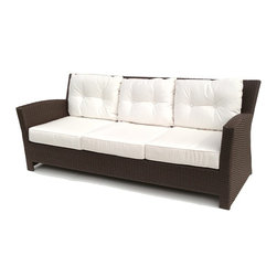 Wicker Paradise - Outdoor Wicker Sofa - Sonoma - The Sonoma outdoor wicker sofa is a great choice if you wanted to create a modern look of balance and stylish wicker body for your area. The back cushions on the sofa give the detail work of tufted buttons which pulls in the solid fabrics for a more aesthetically pleasing appearance. Generous seating on this outdoor wicker sofa.