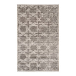 Safavieh - Amad Indoor/Outdoor Rug, Grey / Light Grey 4' X 6' - Construction Method: Power Loomed. Country of Origin: Turkey. Care Instructions: Easy To Clean. Just Rinse With A Garden Hose. Coordinate indoor and outdoor living spaces with fashion-right Amherst all-weather rugs by Safavieh. Power loomed of long-wearing polypropylene, beautiful cut pile Amherst rugs are made to stand up to tough outdoor conditions, but designed with the aesthetics of indoor rugs. Use these family-friendly geometric designs on patios, in kitchens, busy family rooms and other high traffic rooms.
