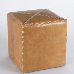 "Jamie Young - Jamie Young Small Buff Leather Ottoman - Ottomans with stitched details are upholstered in your choice of buff leather or white hairhide. From Jamie Young. Imported Large, 25""Sq. x 20""T. Small, 17""Sq. x 17""T."