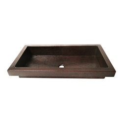 "Artesano Copper Sinks - Rectangular Raised Profile Bathroom Copper Sink with Apron - Rectangular Raised Profile Bathroom Copper Sink with Apron 30 x 16 x 5,  apron is 2"", rim is 1.5"", drain is 1.5"", gauge 16, inside is 27 x 13 x 4.5"". The sink will sit 2"" high from the countertop"