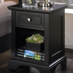 HomeStyles - Nightstand in Ebony Finish - One drawer. Open storage shelf. Clear coat finish guard against wear and tear stemming from normal use. Made from Asian hardwood and engineered wood. Made in Indonesia. Storage drawer: 10.75 in. W x 10.75 in. D x 4 in. H. Open storage: 12 in. W x 14 in. D x 11.5 in. H. Overall: 18 in. W x 16 in. D x 24 in. H. Assembly InstructionsThe clean lines of the nightstand accentuate the sleek feel of the bed.