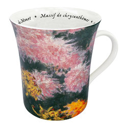 Konitz - Set of 4 Famous Art Mugs 'Les Fleurs Chez Les Peintres' - Monet - The painting shown on this mug is Massif de chrysanthemes by Claude Monet. Monet is famous for his paintings of flowers and water lilies from his personal garden in Giverny, France. French script writing on the interior reads the name of the artist and painting.
