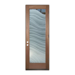 Sans Soucie Art Glass (door frame material T.M. Cobb) - Glass Front Entry Door Sans Soucie Art Glass Dreamy Waves 2D - Sans Soucie Art Glass Front Door with Sandblast Etched Glass Design. Get the privacy you need without blocking light, thru beautiful works of etched glass art by Sans Soucie!  This glass is semi-private.  (Photo is view from outside the home or building.) Door material will be unfinished, ready for paint or stain.  Bronze Sill, Sweep and Hinges. Available in other finishes, sizes, swing directions and door materials.  Dual Pane Tempered Safety Glass.  Cleaning is the same as regular clear glass. Use glass cleaner and a soft cloth.