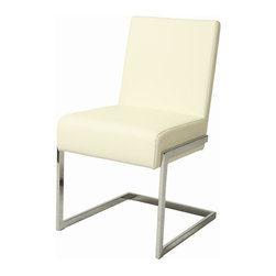 Pastel Furniture - Pastel Furniture Hudson Valley 35 Inch Side Chair in White (Set of 4) - The Hudson Valley chair exemplifies handsome proportions and bold design. With simple lines mixed with curves for comfort, this beautiful chair adds style and elegance to the dining experience. The chair is upholstered in Pu Ivory and Chrome metal frame.