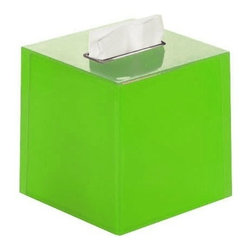 Gedy - Thermoplastic Resin Square Tissue Box Cover in Green Finish - A free stand contemporary kleenex box cover that is made in thermoplastic resin and finished in green.