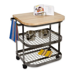 "Enclume - Bakers Cart Base Hammered Steel - Dimensions: 37""L x 25""D x 36""H"