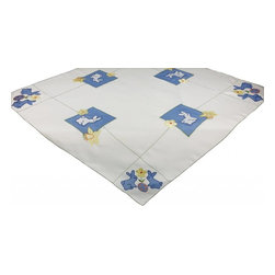 Xia Home Fashions - Baby Bunnies 34 By 34-Inch Table Topper - Precious blue bunnies with flower and Easter egg with green stitch trim. Great for Easter decor and cheerful accent for your family Easter gatherings!