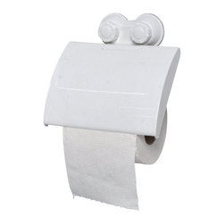 Toilet Tissue Dispenser on Strong Suction Cups Pp White - This toilet tissue dispenser is made of durable polypropylene. It features two extremely strong suction cups for a secure adhesion to toilet tiles. Simply turn the suction cup buttons and hold firmly to your toilet wall. It easily holds a roll of paper without any drilling, tools, or damage to your walls. Length of 6-Inch, depth of 1.5-Inch and height of 6.3-Inch. Wipe clean with soapy water. Color white. An attractive way to dispense toilet tissue and to add an elegant design to your bathroom! Complete your decoration with other products of the same collection. Imported.
