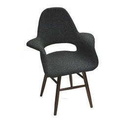Fine Mod Imports - Eero Dining Chair in Gray - Contemporary style. Fabric upholstery. Plywood legs in walnut finish. Warranty: One year. Assembly required. Seat height: 16.5 in.. Overall: 28 in. W x 24 in. D x 36 in. H (20 lbs.)