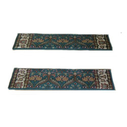 Momeni - Persian Garden Teal PG12.41 2.6 x 9 Inches - Premium Single Stair Treads Teal - Persian Garden Teal PG12.41 2.6 x 9 Inches Rug Depot Premium single Treads - Buy the amount of treads you require.