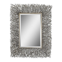 "Uttermost - Uttermost Corbis Rectangular Wall Mirror in Silver Metal Frame - Rectangular Wall Mirror in Silver Metal Frame belongs to Corbis Collection by Uttermost This decorative mirror features a hand forged metal frame with a silver finish and light champagne highlights. Mirror has a generous 1 1/4"" bevel. May be hung either horizontal or vertical. Mirror (1)"