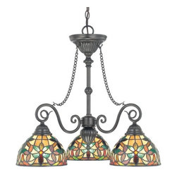 Quoizel - Quoizel TFKM5103 3 Light Down Lighting Chandelier with Tiffany Glass Shades from - Transitional 3 Light Down Lighting Chandelier with Tiffany Glass Shades from the Kami CollectionThe Kami collection brings a quiet yet prominent elegance to your home d�cor.Features: