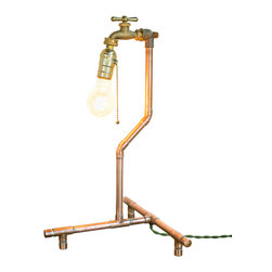 Nine & Twenty - Industrial Copper Table Lamp - A light bulb where you might expect to find a garden hose.  In the living room, the office, or the greenhouse, this lamp will provide illumination, and is likely to start more than one conversation.