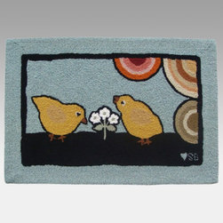 Susan Branch - Susan Branch Baby Chicks Rug - SB-0059 - Shop for Rugs and Runners from Hayneedle.com! The Susan Branch Baby Chicks Rug has an adorable retro-style design of baby chicks on a slate blue background. Perfect for farmhouse-style kitchens and comfy cafes this rectangular rug is hand-hooked at a dense 90 lines per square foot and made from 100% luxurious wool. It measures 36L x 24W inches. Designed for indoor use in residential or commercial settings.About Thorndike MillsRooted in a proud Armenian family tradition Thorndike Mills developed in Boston during the first half of the 20th century. Their dedication to the quality traditions of Armenian rug-making remains true today. With an emphasis on exact specifications materials that meet high levels of quality and rigorous construction standards they're a top producer of braided rugs for homes and businesses across America. Thorndike Mills is the only manufacturer who still produces true cloth braided rugs made with three strands woven together and then wrapped; the next best option would be a handmade rug. The true quality of the rugs lies in the little details like hidden joints guaranteed color matching perfect symmetry of design and durable lock-stitch sewing. Thorndike Mills is still owned today by the third generation of the founding family.About Susan BranchSusan Branch is a self-taught artist from the Martha's Vineyard area who creates delicate organically inspired works that celebrate nature and simplicity. She has previously been featured in magazines including Country Living and American Patchwork and Quilting. Susan is best known for her beautiful watercolor illustration work which graces her 14 published books as well as a line of china stationery pajamas and her popular yearly calendar.
