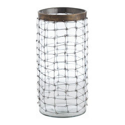 Arteriors - Trudy Hurricane, Clear, Large - Set a candlelight mood with a touch of mesh to add ambience in your favorite setting. This clear glass hurricane wears a wrap of linked wire and a band of brass at the rim for elegance with an edge.