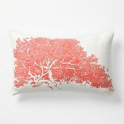 "Thomas Paul - Faux Bois Pillow, Maple - Lifelike bark is screenprinted by hand onto a plump, linen-covered cushion. No two are exactly alike. By Thomas Paul.Bottom zipLinen; down fillSpot clean12"" x 20""Imported"
