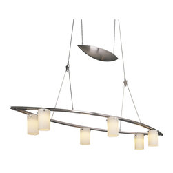 George Kovacs - Counter Weights Oval Suspension - Counter Weights Oval Suspension is available in a Brushed Nickel finish with Etched Opal glass. Six 20 watt, 12 volt JC type G4 base Krypton Xenon lamps are included. 11.25 inch width x 4.25 inch height x 72 inch adjustable length.
