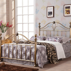 Coaster - King Bed, Antique Brush - The bed has a high curved headboard and footboard with elegant curved crowns, and swirling floral motifs. The bed is available in king or queen size and is comes in an antique gold with a burnished finish. This beautiful iron bed will help you create a stunning centerpiece in your bedroom, forming the calming oasis that you have always longed to have in your home