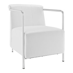 Modway - Ebb Vinyl Lounge Chair EEI-1439, White - Gradually ease into your living space with the Ebb lounge chair. Ebb's design flows a calming effect over your room as you sink into the plush vinyl seat and back. Ebb's stainless steel round tube arms develop the perfect enclosure to the progressive organic design. Ebb is perfect for contemporary homes and other settings on the move.