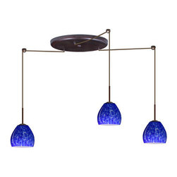 Besa Lighting - Besa Lighting 3BW-412286-LED Bolla 3 Light LED Cord-Hung Mini Pendant - The Bolla is a compact handcrafted glass, softly radiused to fit gracefully into contemporary spaces. Our Blue Cloud glass is full of floating, splashes of blue tones over white that almost feels like a watercolor painting. This combination of color is crisp and timeless. This decor is created by rolling molten glass in small bits of blue hues called frit. The result is a multi-layered blown glass, where frit color is nestled between an opal inner layer and a clear glossy outer layer. The handcrafted touch of a skilled artisan, utilizing century-old techniques passed down from generation to generation, creates variations in color and design that are to be appreciated. The cord pendant fixture is equipped with three (3) 10' SVT cordsets and a 3-light large round canopy, three (3) suspension stemhooks included.Features: