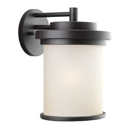 Seagull - Seagull Winnetka Outdoor Wall Mount Light Fixture in Misted Bronze - Shown in picture: 88662-814 One Light Outdoor Wall Lantern in Misted Bronze finish with Cafe Tint Glass
