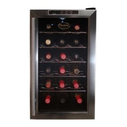 Vinotemp - 18 Bottle Thermoelectric Wine Cooler - The VT-18TEDS thermoelectric wine cooler is designed to keep your wine at just the right temperature. Featuring a black cabinet with stainless steel door trim and handle and sturdy wire shelf racking for individual bottle storage, this 18 bottle, freestanding cooler can be placed just about anywhere.