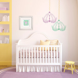 Dressing Room Chandelier Bari J Stencil - Dressing Room Chandelier Bari J Wall stencil from Royal Design Studio Stencils. Every little girl's room should have a chandelier. This hand painted design would also work in craft rooms, dressing rooms, nurseries and powder rooms.