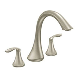 "Moen - Moen T943BN Brushed Nickel Roman Tub Trim 8""-16"" Two Lever Handles, ADA - Moen T943BN is part of the Eva bath collection. Moen T943BN has a Brushed Nickel finish. Moen T943BN is a roman tub trim 3-hole 8"" - 16"" installation. Roman Tub faucet is a deck-mount with 8 1/2"" long and 9 1/2"" high arc spout for conventional styling. Moen T943BN Roman Tub Trim fits the MPact common valve system, and requires Moen's 4992 or 4993 valve. Valve sold separately. Moen T943BN is approved by ADA. Brushed Nickel has a Lifeshine finish guarantee from Moen and provides style and durability. Moen T943BN metal lever handle meets all requirements ofADA ICC/ANSI A117.1 and CSA B-125, ASME A112.18.1M. Lifetime Limited Warranty and 5 Year commercial"