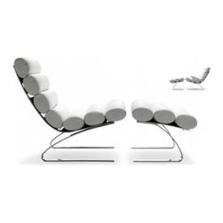 """Sinus - This classic contemporary design from 1976 by Reinhold Adolf and Hans-Jürgen Schröpfer is an example of a two-piece chaise, aka chair and matching ottoman. In this case the ottoman totally completes the design. The rolled leather upholstery units almost look like they would offer a massage element to the """"recline supine""""!"""