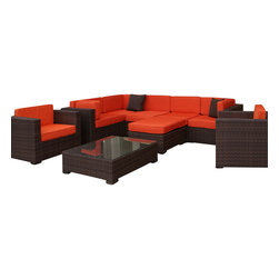 International Home Miami - Atlantic Southampton Sectional 9-Piece Patio Set in Orange - Great quality, stylish design patio sets, made entirely of high quality resin. No metal parts. I won't rust. Polyester cushion with water repellant treatment. Enjoy your patio with elegance all year round with the wonderful Atlantic outdoor collection.