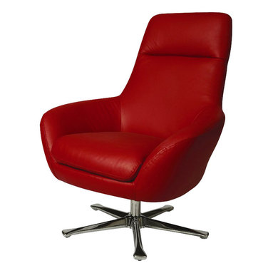 Pastel Furniture - Pastel Ellejoyce Club Chair - Chrome - Top Grain Red Leather - The Ellejoyce club chair with a swivel feature exemplifies handsome proportions and bold character in this beautiful design. This chair is upholstered in top grain red with a brushed chrome sturdy base.
